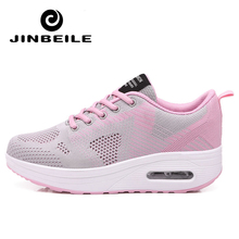 2018 Women Sport for Light Up Fitness Swing Wedges Platform zapatos mujer trainers Air feminino Breathable Toning Shoes