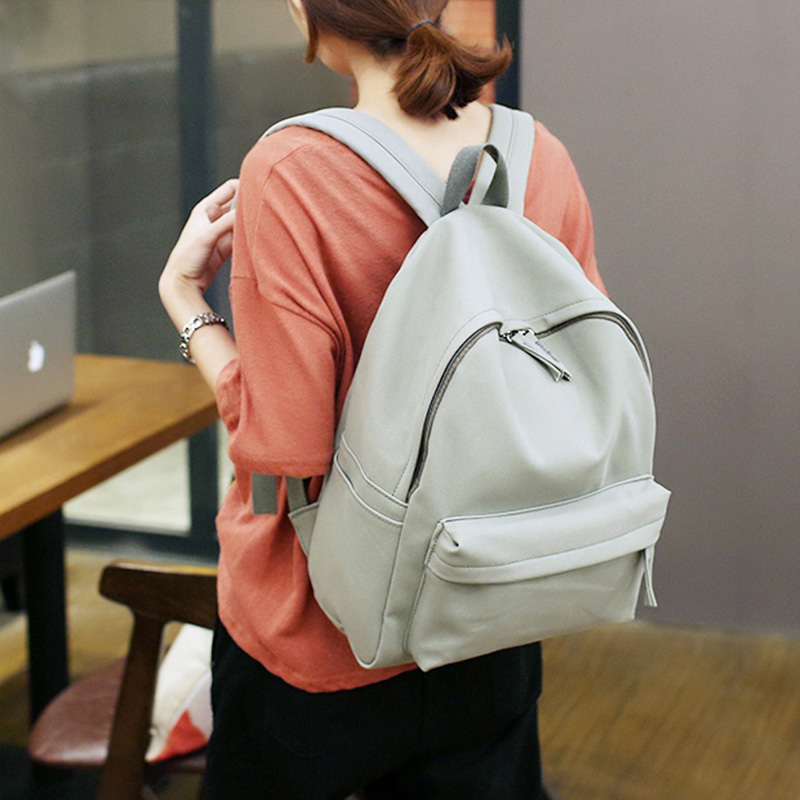 Travel backpack female 2018 new student large capacity bag Korean matte leather computer bag 14 inch