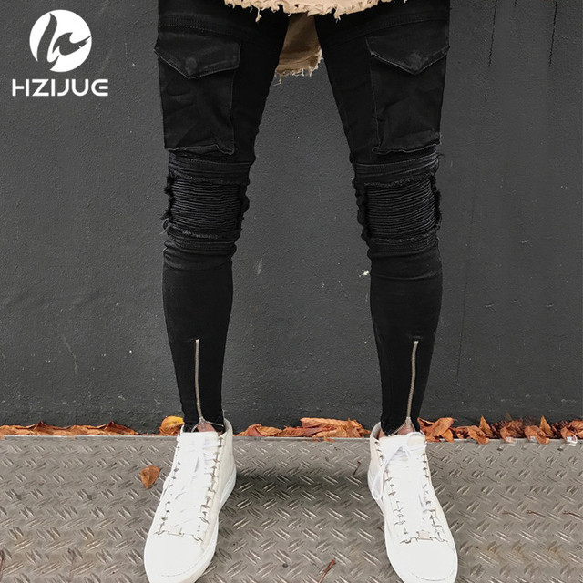HZIJUE 2018 hombres primavera ripped jeans slim fit denim Pantalones  stiedye jeans plisado motocicleta biker jeans abbf80449d3