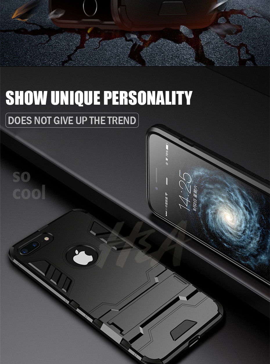 Shockproof Armor Phone Case For iPhone Plus TPU + PC Protective Case 2