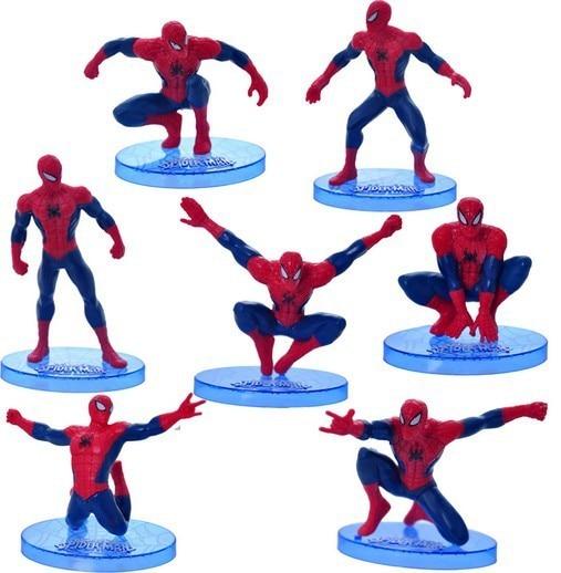 7 pçs/lote 6-9 cm spiderman Homem-Aranha Boneca Brinquedos Figuras de Ação Brinquedos Caçoa o Presente Frete Grátis