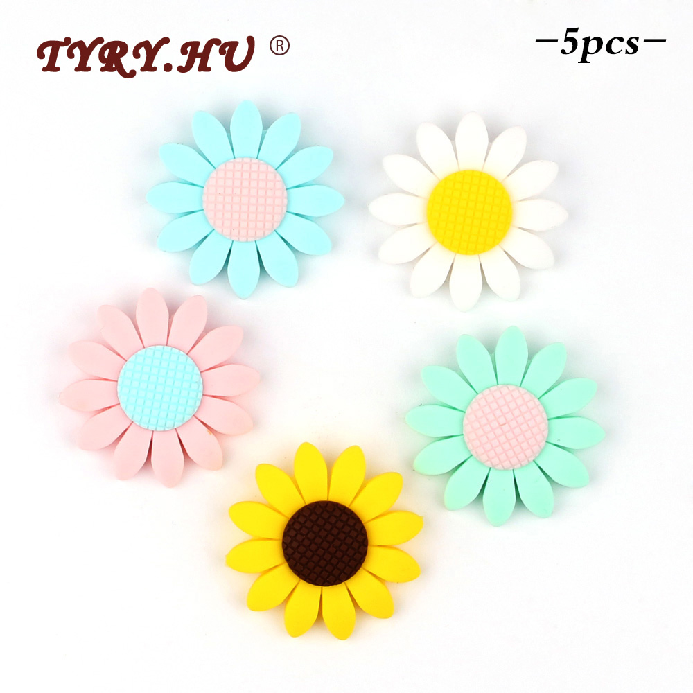 TYRY.HU Free Shipping 5pc Food Grade Silicone Beads Sunflower BPA Free Baby Silicone Teether Chew Rodents DIY Baby Teething Toys