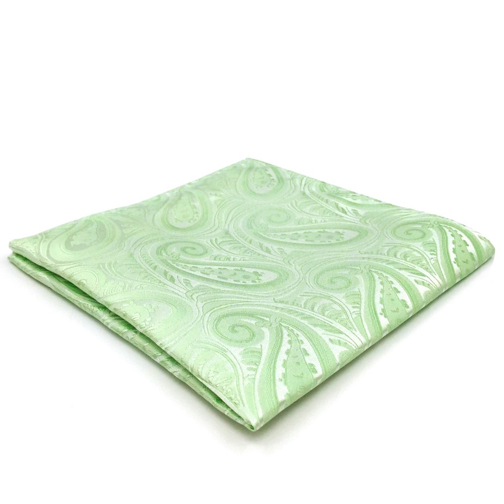 EH6 Light Green Paisley Silk Pocket Square Handkerchief Classic