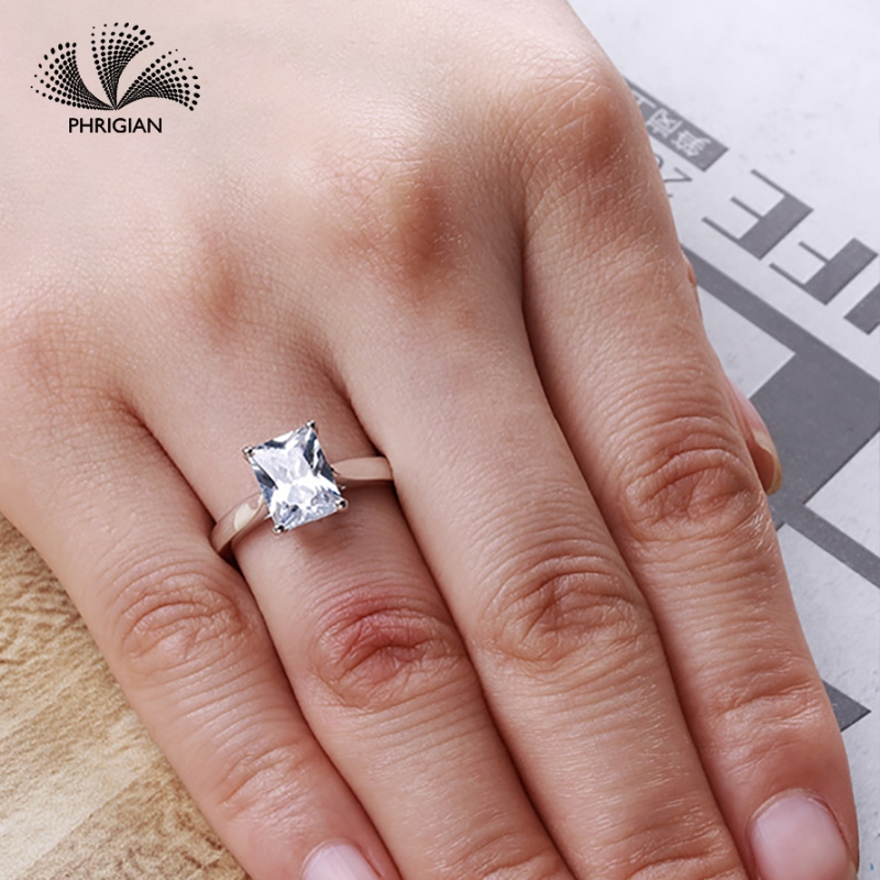 Sona NOT FAKE Fine Engraving Ring S925 Sterling silver Diamond Solitaire ring Original Design 925 4 claws emerald cutSona NOT FAKE Fine Engraving Ring S925 Sterling silver Diamond Solitaire ring Original Design 925 4 claws emerald cut