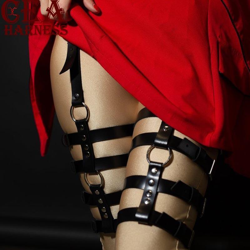 Women Leg Belt Garter Suspender Faux Leather Harness Casual Gothic Fashion Black