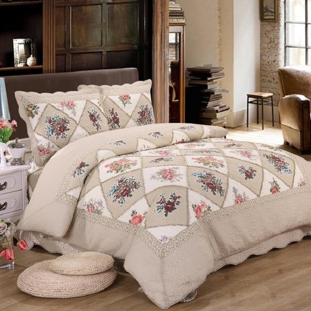 CHAUSUB Korea Style Patchwork Quilt Set 3PCS/4pcs Cotton Quilts Quilted  Bedspread Sheets Pillowcase Coverlet
