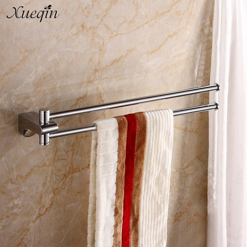 Xueqin Brass Swivel Bathroom Double Towel Bar Hanger Rail Bath Towel Clothes Pajamas Storage Racks Rack Bar xueqin retro style bathroom towel rack cast iron towel rail holder hanging shelves clothes hanging home storage hanger