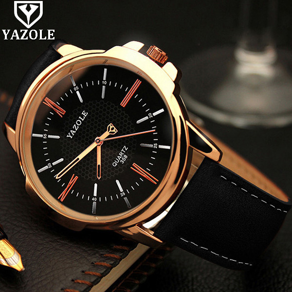 YAZOLE Rose Gold Quartz Watch Men 2017 Top Brand Luxury Famous Male Clock Wrist Watch Golden