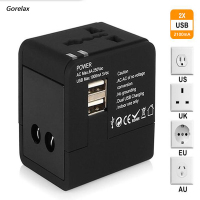 Gorelax Worldwide Universal Switch Plug Travel Adapter Converter Sockets EU US UK AU With 2 1A