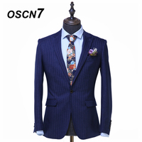OSCN7 Stripe Custom Made Suits Men Slim Fit Wedding Party Mens Tailor Made Suit Fashion 2 Piece Suit ZM 506 custom supplier
