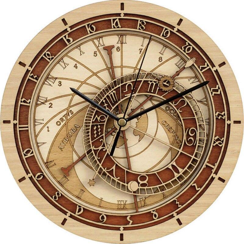 Horloge Antique astronomique sur le mur pour salon silencieux mouvement horloge murale créative/rétro Quartz 3D montre murale décor à la maison