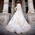 Роскошный с длинным рукавом паффи мусульманские свадебные платья бальное платье урожай высокая шея золото кружева аппликации суд поезд свадебные платья 2016