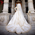 Luxurious Long Sleeve Puffy Muslim Wedding Dresses Ball Gown Vintage High Neck Gold Lace Appliques Court Train Bridal Gowns 2016