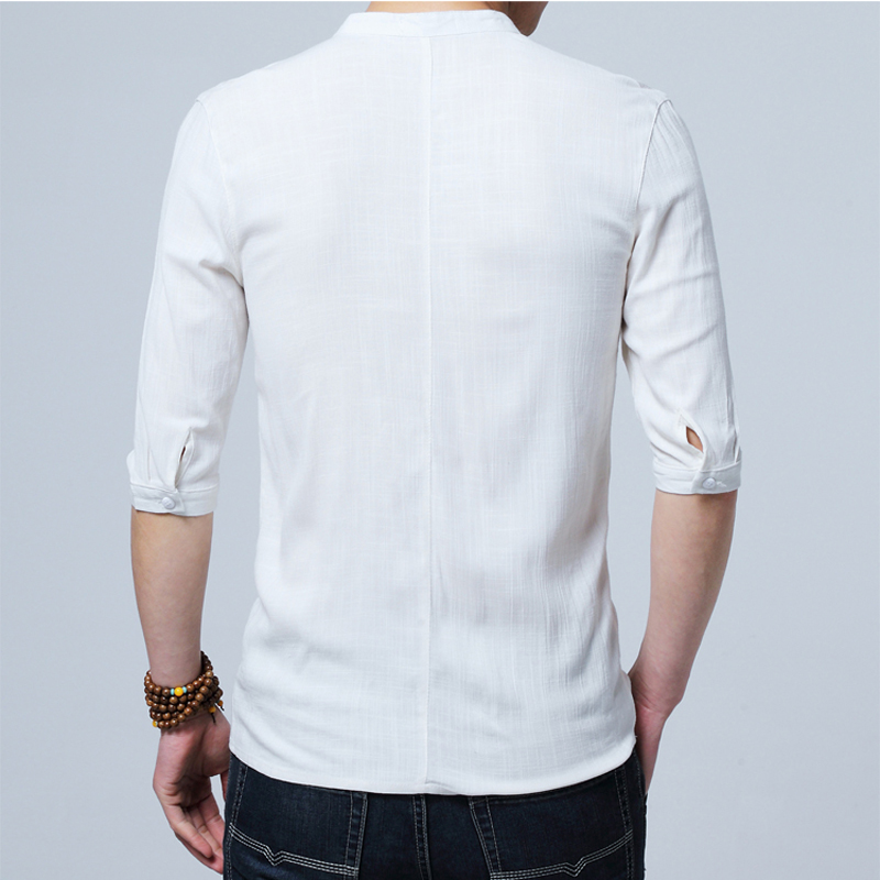 Chinese Style Flax Summer Pants Embroidered Yarn Men 39 S Shirt Men 39 S Long Sleeve Shirt Men 39 S Retro Cotton Shirt in Casual Shirts from Men 39 s Clothing