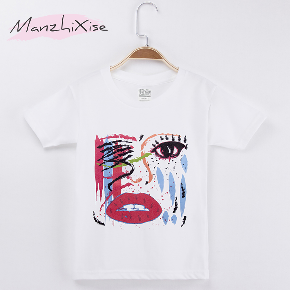 2018 New Fashion Kids Clothes Girls T-shirt Beauty Beautiful Face Print 100% Cotton O-Neck Chidren Short T Shirts Baby Tops Tee