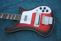 Factory custom black&red 4 strings electric bass guitar with white pickguard,Rosewood fretboard,White binding