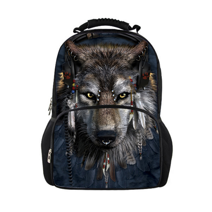 1f256f0619e3 Pit Bull Dog Kids Boys and Girls School Backpack Bags Wolf Printing ...