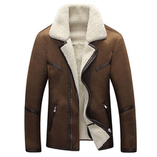 In Stock Mens Fur Leather Jacket Overcoats New Formal Fur Streetwear Plus Size Western Country Vintage Sheepskin Coats Mens C033