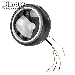 "Image 4 - 할리 Sportster 카페 레이서 Bobber 6.5 ""오토바이 LED 헤드 라이트 Hi & Lo 헤드 램프 전구 DRL 천사 반지"