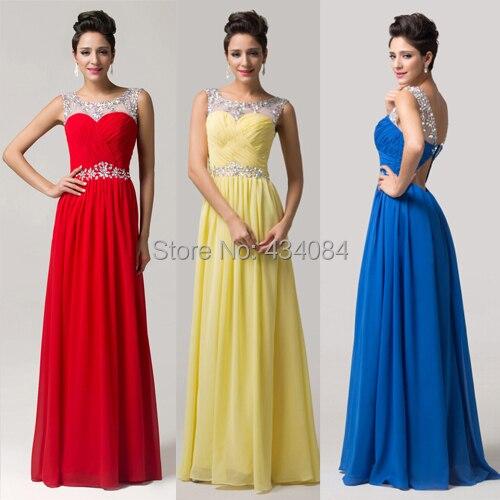 5f1e77cbfc El último diseño rojo   azul   amarillo cristal largo de la gasa barato  vestido de