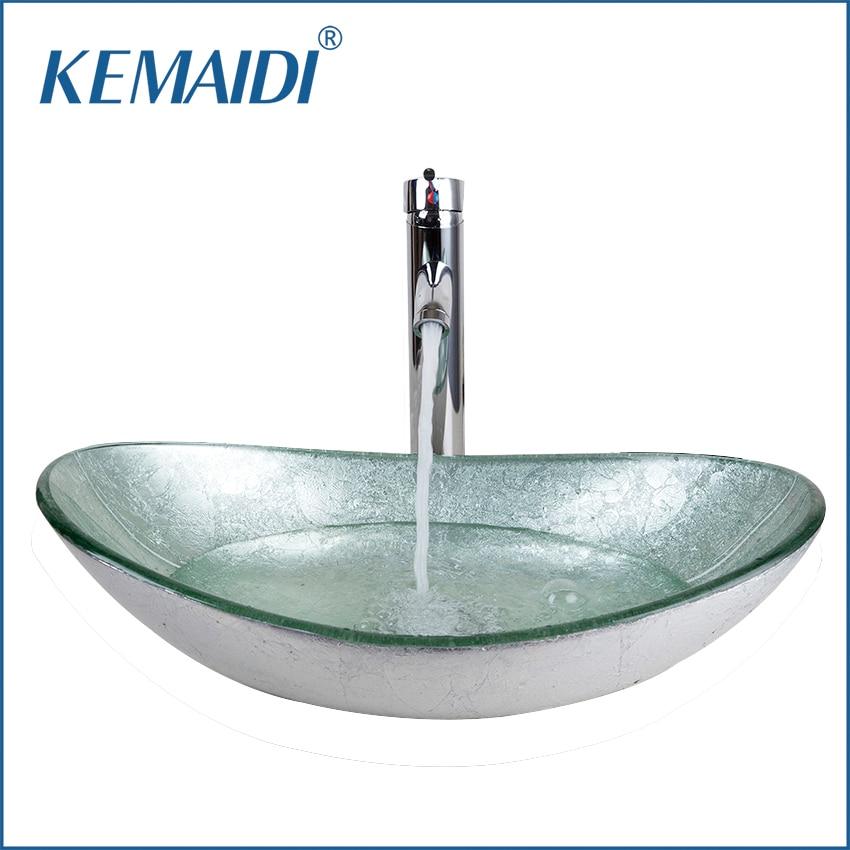 Kemaidi us bathroom washbasin countertop tempered glass - Bathroom tempered glass vessel sink ...