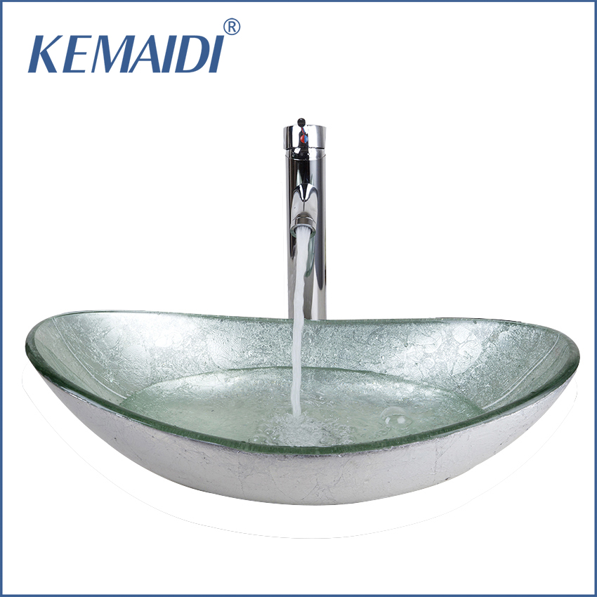 Kemaidi us bathroom washbasin countertop tempered glass basin sink faucet set brass waterfall for Glass bathroom sinks countertops