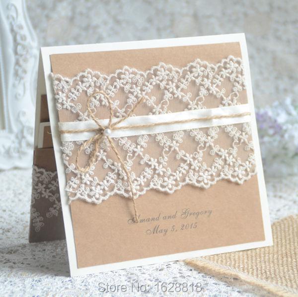 Wedding Invitation Card Paper: Vintage Card Handmade Craft Paper Wedding Invitation Card