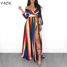 VAZN Top Quality Novelty Design 2018 Sexy Style Women Dress Striped V-Neck Full Sleeve Belt Maxi Dress Vestido S3392