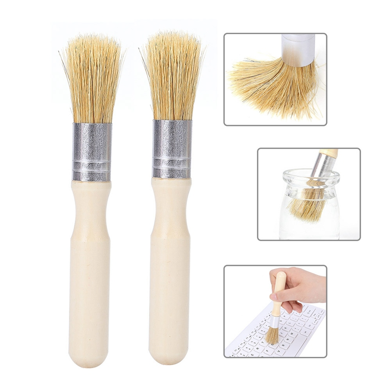 Wood Handle Pig Bristle Hair Brush, Painted Colored Brushes Household Kitchen Cleaning Brush - Practical Round Brushes