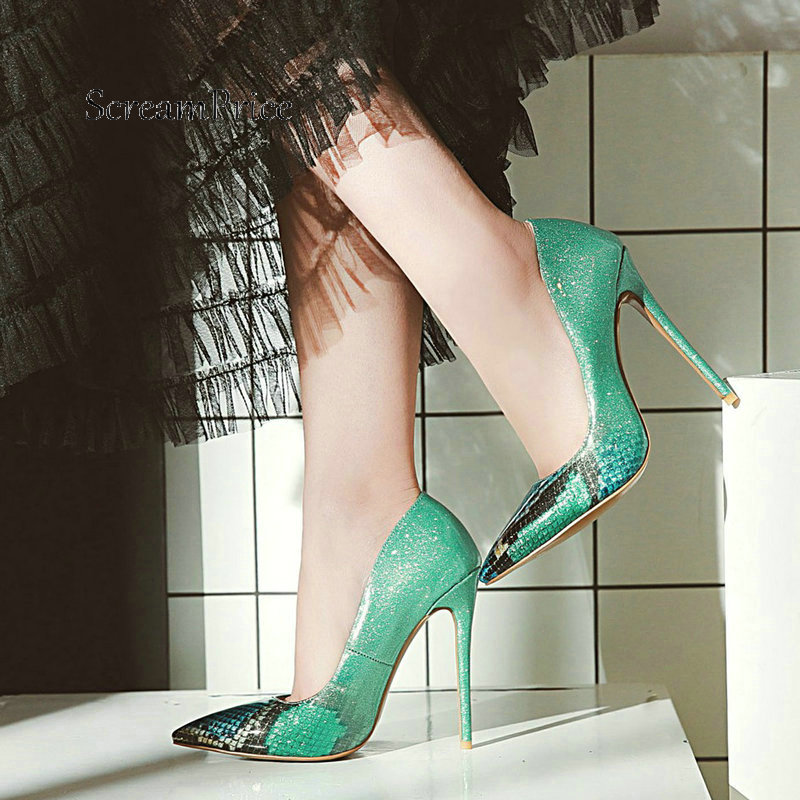 Sexy Super Thin High Heel Slip On Lazy Shoes Fashion Pointed Toe Mixed Colors Dress Women Pumps Black Green Blue Purple