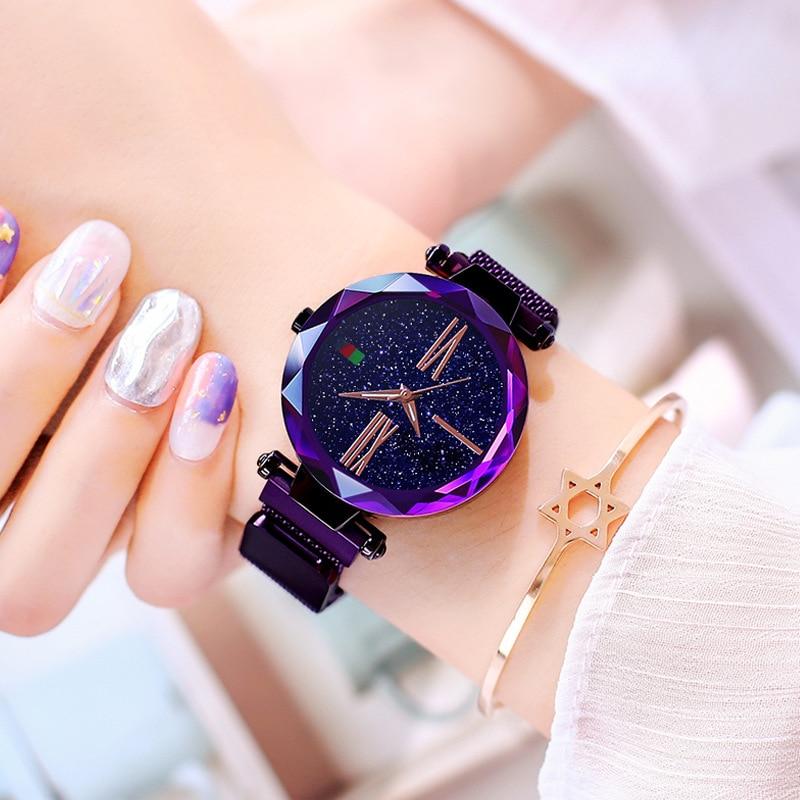 Elegant Purple Women Watches Starry Sky Fashion Lady Quartz Clock Magnet Buckle Casual Business Party Girls Gift Wristwatch