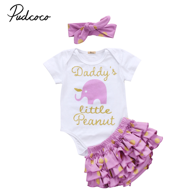 7220a220a550 Pudcoco Newborn Baby Girls Outfit Clothes Peanut Romper Jumpsuit+ ...