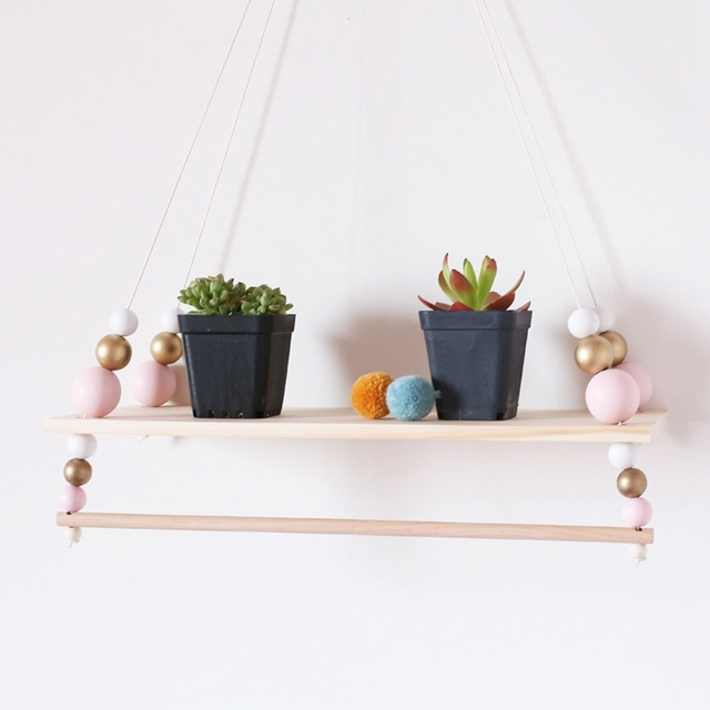 Suspended Shelf Storage Holders BABY Room Children Chamber Swing Wooden Pearls Kids Hanging Clothes Rack