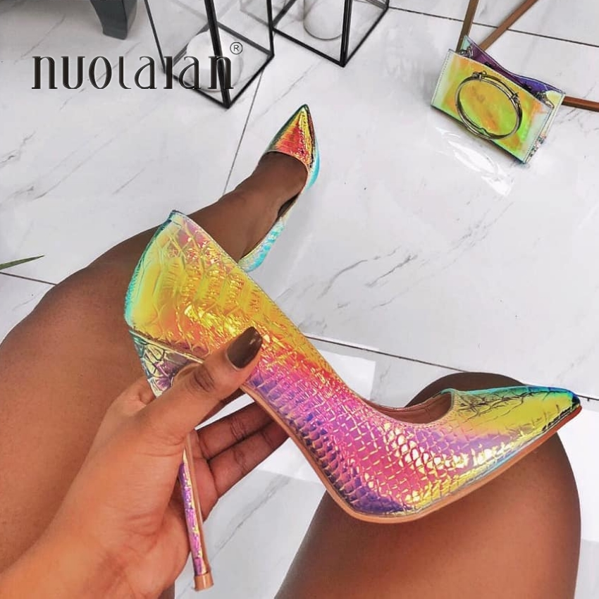 Woman Shoes Snake-Printing Party Pointed-Toe High-Heels Sexy Big-Size New-Fashion 35-42