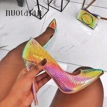 e108b7dc90 2019 Nova moda sapatos de mulher cobra impressão sapatos de casamento festa  tamanho grande 35-42 sensuais dedo apontado saltos a.