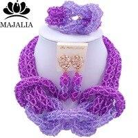 Majalia New Fashion Nigerian Wedding African Jewelery Set Purple and Lilac Crystal Necklace Bridal Jewelry Set 2RF015