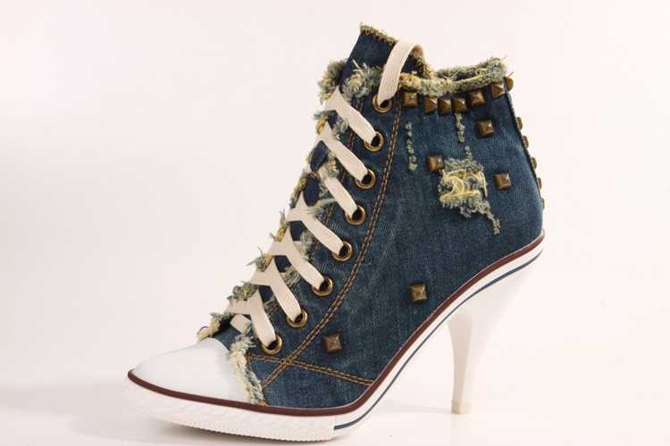 ФОТО Hot 2015 New Arrival Spring And Autumn Canvas High Heels Rivet High Heel Canvas Shoes Women Denim Canvas Free Shipping S3029
