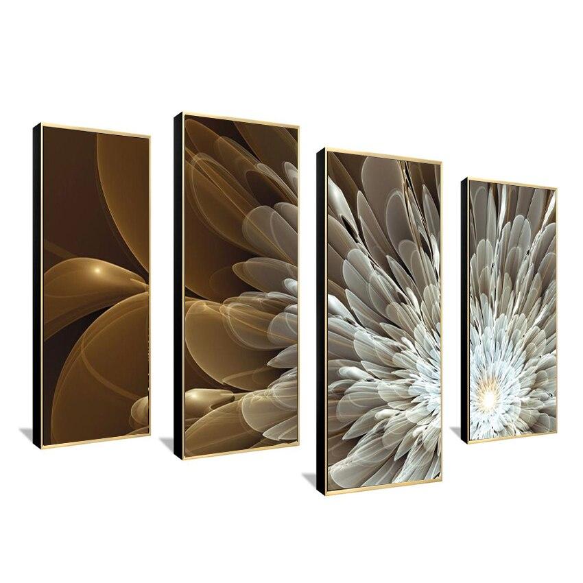 Obraz na plátně nástěnné umění výzdoba Print Flower White Lotus v černé zdi Art Picture s moderními nástěnnými malbami Modulární obrázek
