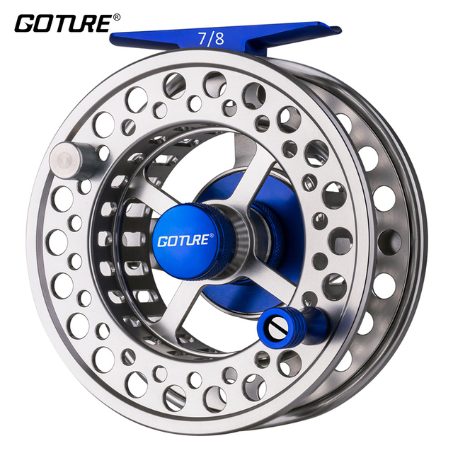 Goture New Cyrax Fly Fishing Reel Large Arbor CNC Machined Aluminum Alloy Metal Fly Reel 3BB 5/6 7/8WT For Freshwater Saltwater