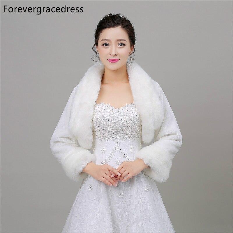 Forevergracedress Real Pictures Warm Faux Fur Wedding Wrap Winter Coat Bolero Jacket Bridal Accessories Cape Cloak In Stock