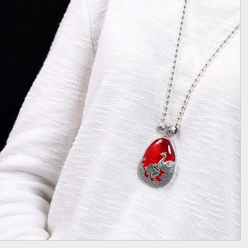 Uglyless réel 925 argent Sterling naturel calcédoine pendentif sans collier femmes rétro Phoenix Bijoux pivoine Marcasite Bijoux - 2