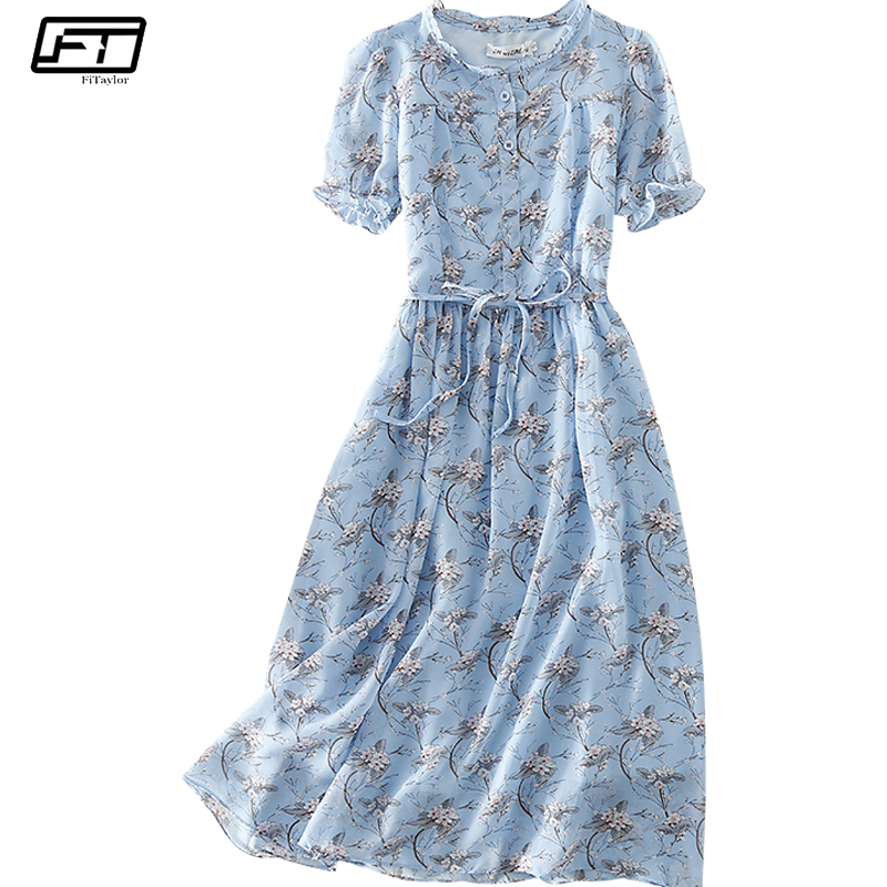 Fitaylor 2018 Summer Plus Size Chiffon Vintage Dress Women Fashion Print Floral Casual Sexy Bandage Dress Evening Party Dresses