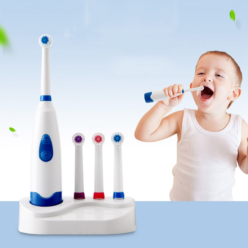 Brand New Baby Kids Toddler Electric Rotating Toothbrush With 4 Heads Oral Hygiene Tooth Brush For Baby Child Care image