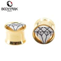 Body Punk Latest Gold Ear Plugs With Glitter Diamond Plugs Fake Piercing Jewelry Specially Body Feminino