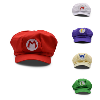 Hot Toys Mario Luigi Wario Mary Cosplay MARIO Cosplay Clothes Halloween Costumes Cartoon Hats 5 Colors