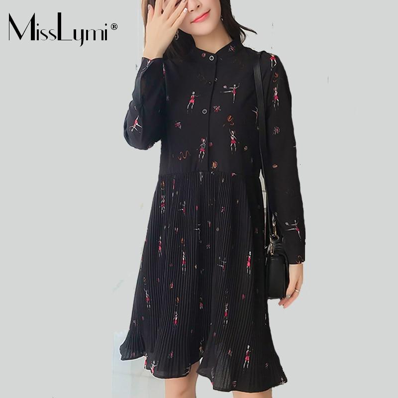 MissLymi L-4XL Plus Size Women Shirt Dress 2019 Spring Long Sleeve Cartoon  Ballet Girl 59160c359294