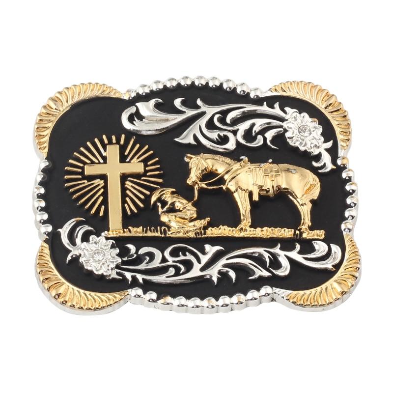 Golden Horse Belt Buckle  Cross Alloy Buckle