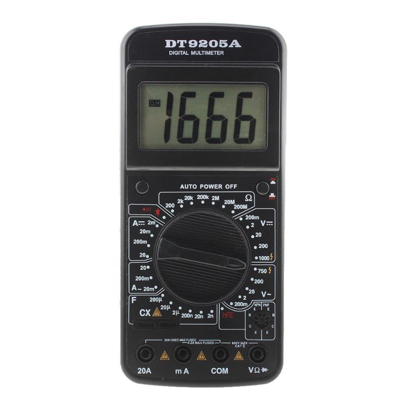 DT9205A AC DC pantalla LCD profesional eléctrica de mano de metro del probador multímetro Digital Multimetro amperímetro Multitester