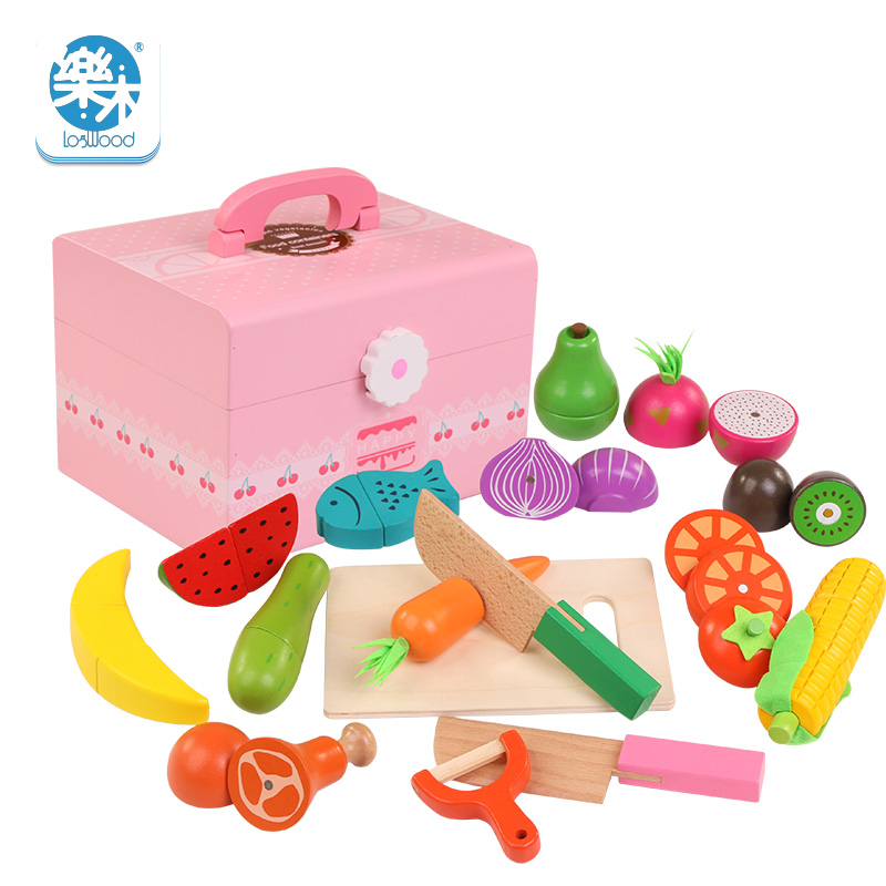 New Logwood Wooden simulation Real life classic kitchen toys Cutting fruit and vegetable toys children early education toys logwood wooden toys building blocks wooden block four columns children monterssori develop baby s intelligence early education