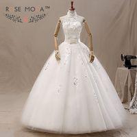 Halter lace una linea abito da sposa perla bordato in pizzo corsetto con fiocco debs vestono abiti da noiva reale foto